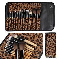 Набор из 12 кистей для макияжа в леопардовом чехле, фото 1