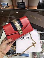 Женская брендовая сумка-клатч на цепочке Gucci Гуччи дорогой Китай красная