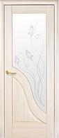 Двери Амата Со стеклом сатин и рисунком Р2 Ясень