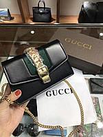 Женская брендовая сумка-клатч на цепочке Gucci Гуччи дорогой Китай черная