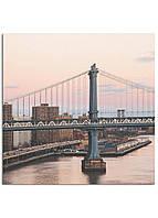Фотокартина на холсте Закат на мосту, 25*25 см