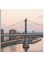 Фотокартина на холсте Закат на мосту, 30*30 см