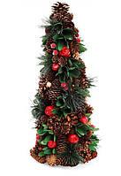 Елка новогодняя с декором из ягод и зеленых листьев, 48см, набор 2 шт