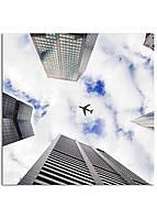 Фотокартина на холсте Самолет в небе, 30*30 см
