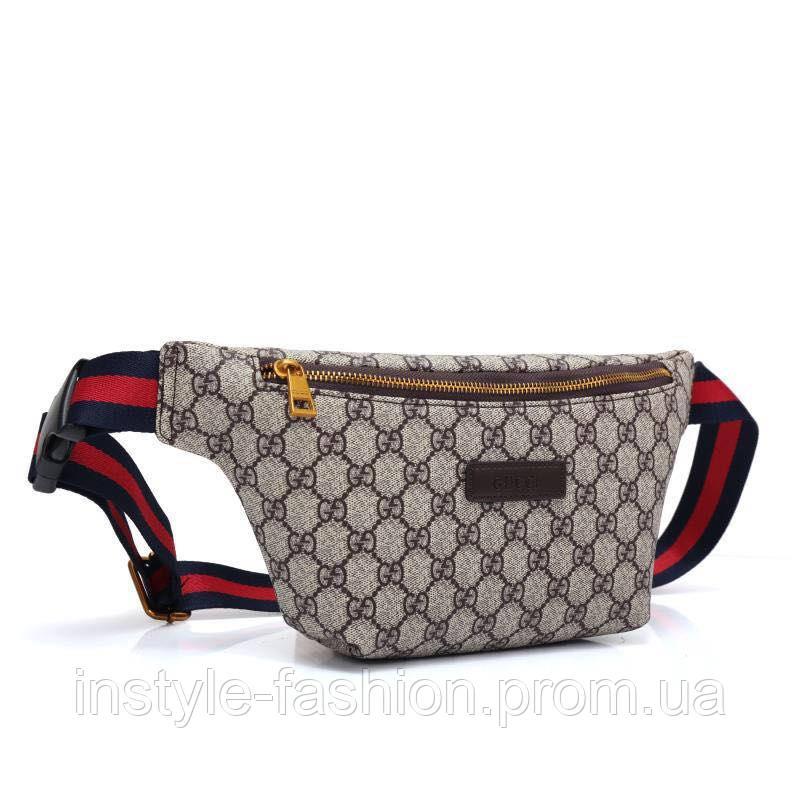 3647d002d70d Сумка на пояс брендовая Gucci Гуччи ткань текстиль: купить недорого ...