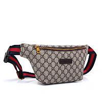 Сумка на пояс брендовая Gucci Гуччи ткань текстиль