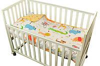 Детское покрывало 75х130 в кроватку двустороннее Джунгли сатин