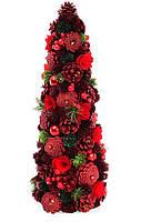 Елка новогодняя с декором из ягод и красных цветов, 48см, набор 2 шт