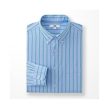 Рубашка Uniqlo Men's Extra Fine Cotton Broadcloth Printed BLUE, фото 2