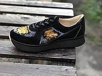 Кроссовки №471-9 черный замш + пайетки золото ( омега черн)