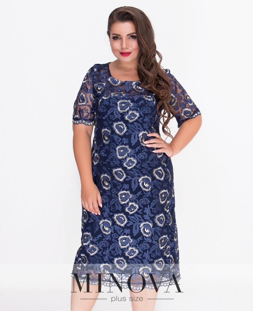 Кружевное слегка приталенное платье 52-58