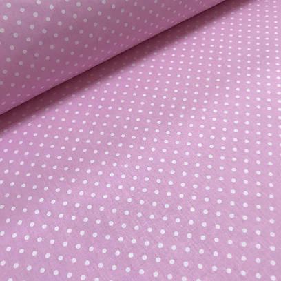 Ткань хлопковая польская горох 4 мм на розовом