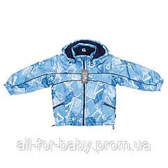 Демисезонная куртка Elmi на флисе 110см голубая с принтом