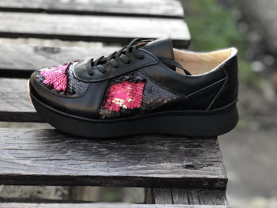 Кроссовки №471-14 черная кожа + пайетки розовые (омега черн)