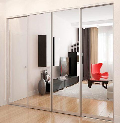 Раздвижная система   Межкомнатные перегородки   Дверь зеркало