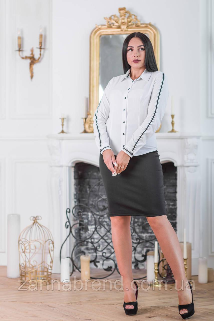 200a9ce3cd7 Блузка женская классическая белая с черными пуговицами и воротником - Zanna  - интернет магазин Тканей и