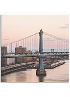 Фотокартина на холсте Закат на мосту, 40*40 см