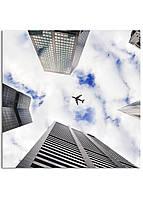 Фотокартина на холсте Самолет в небе, 40*40 см