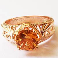 """Кольцо """"Сандра"""", янтарный циркон. Размеры 17,18,19. Ювелирная бижутерия, позолота 18К."""