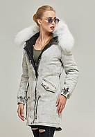 Парка женская зимняя джинсовая с натуральным мехом в 2х цветах П-31/1, фото 1