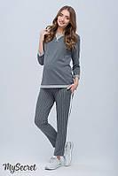 Стильные брюки для беременных CRAYON TR-18.031, серые в молочную полоску, фото 1
