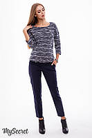 Классические брюки для беременных ELEGANCE, из стрейчевого коттона, синие*, фото 1