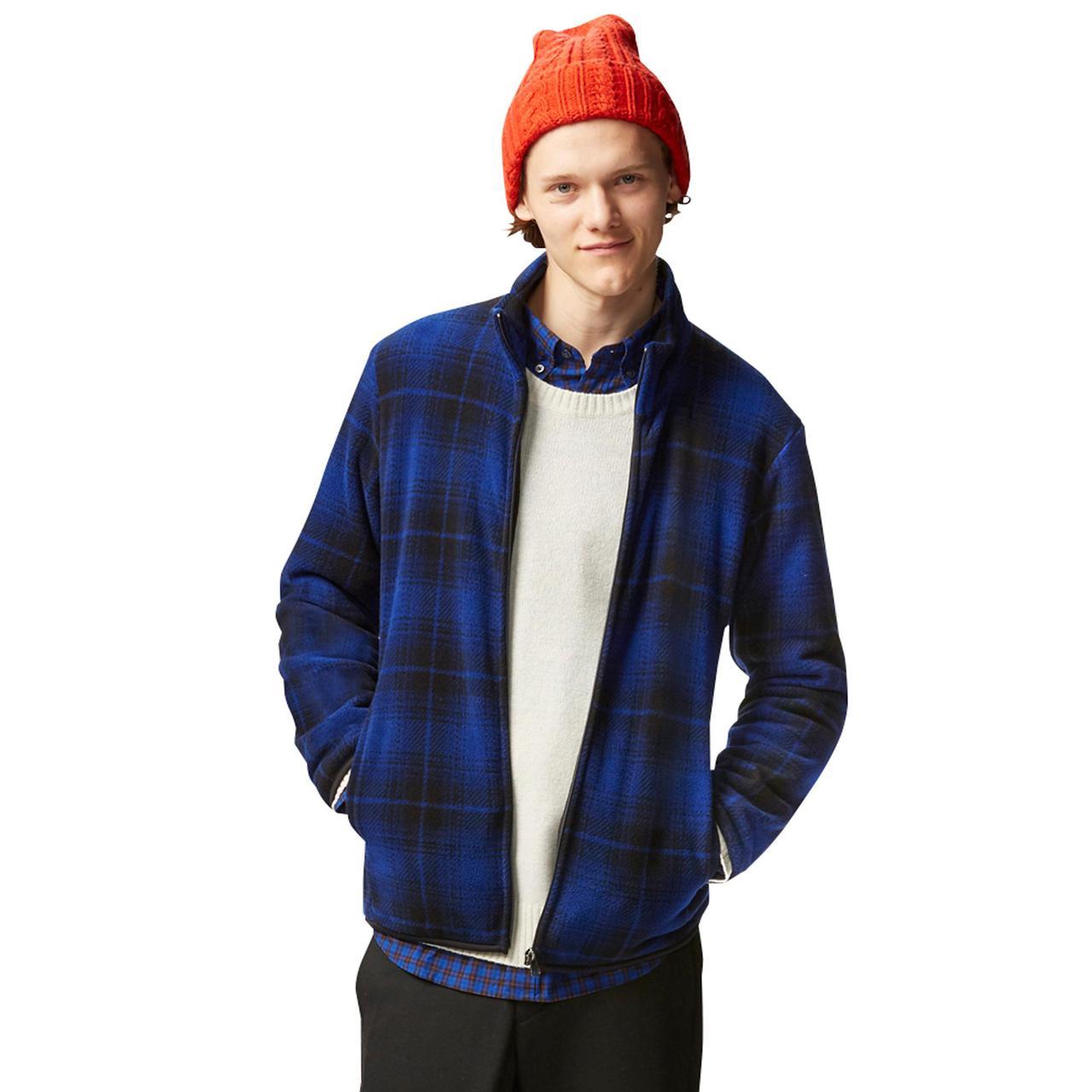 Кофта Uniqlo Men Printed Fleece Jacket Blue