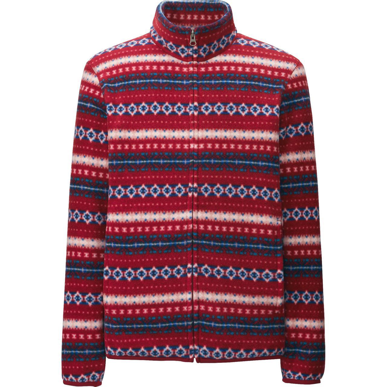 Кофта Uniqlo Men Printed Fleece Full-Zip Jacket Red