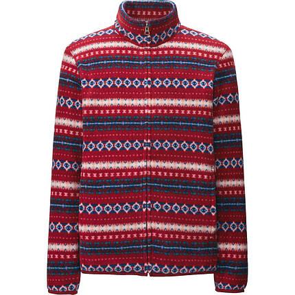 Кофта Uniqlo Men Printed Fleece Full-Zip Jacket Red, фото 2