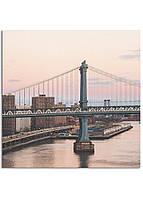Фотокартина на холсте Закат на мосту, 50*50 см