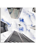 Фотокартина на холсте Самолет в небе, 50*50 см