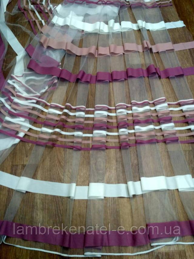 тюль с фиолетовой горизонтальной полосой