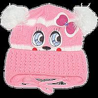 Детская вязаная шапочка р. 46-48 одинарная весенняя осенняя на завязках для девочки 2693 Розовый 46