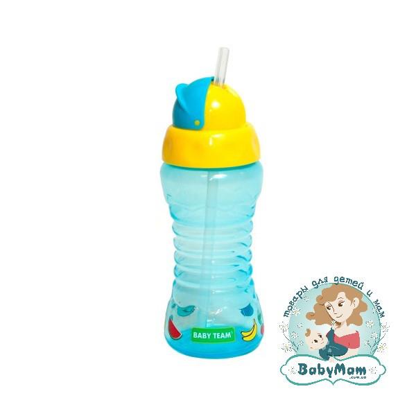 Поильник Babyteam для путешествий c трубочкой, 270 мл, 10+(синий)