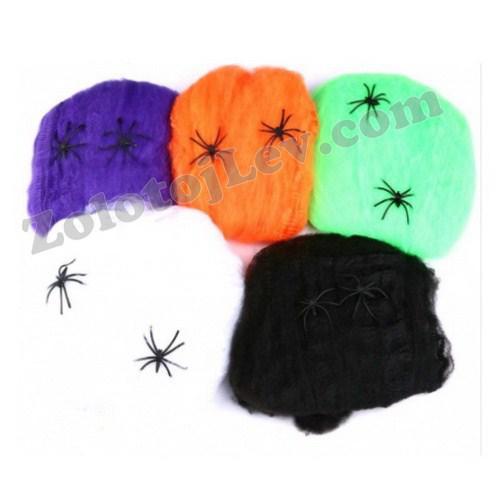 Павутина з павуком на Хеллоуїн фіолетова