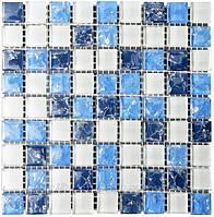 Мозаика микс 300х300х6 (код 450) (белый-синий колотый-голубой колотый), ячейка 15х15