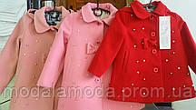 Пальто для девочки на пуговицах с жемчугом