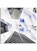 Фотокартина на холсте Самолет в небе, 60*60 см