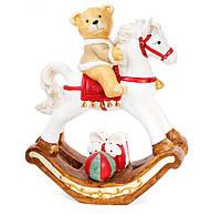 Декоративная фигура Мишка на лошади, 55см, цвет - белый с красным, фото 1