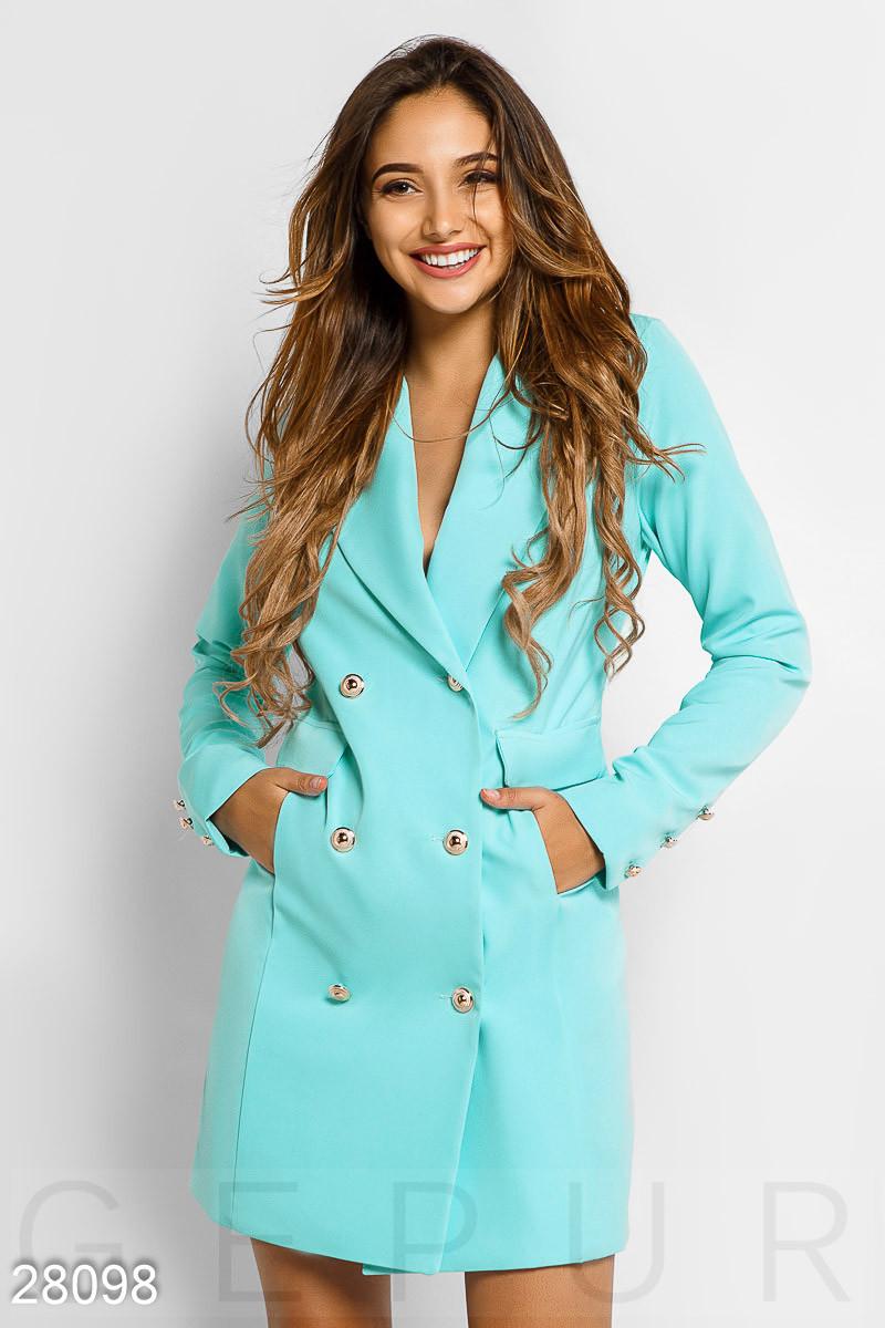 Модное платье пиджак приталенное мини длинный рукав на пуговицах с карманами голубое