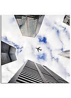 Фотокартина на холсте Самолет в небе, 70*70 см
