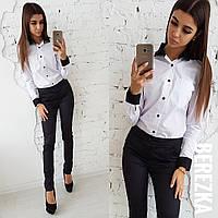 64b96a3608a Костюм модный стильный белая хлопковая рубашка с черными манжетами и брюки  Ds1142
