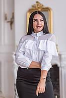 Блуза с баской на груди белая рукав три четверти , фото 1