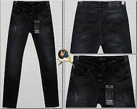 Джинсы мужские зауженные Febbre чёрные на пуговицах 30 размер
