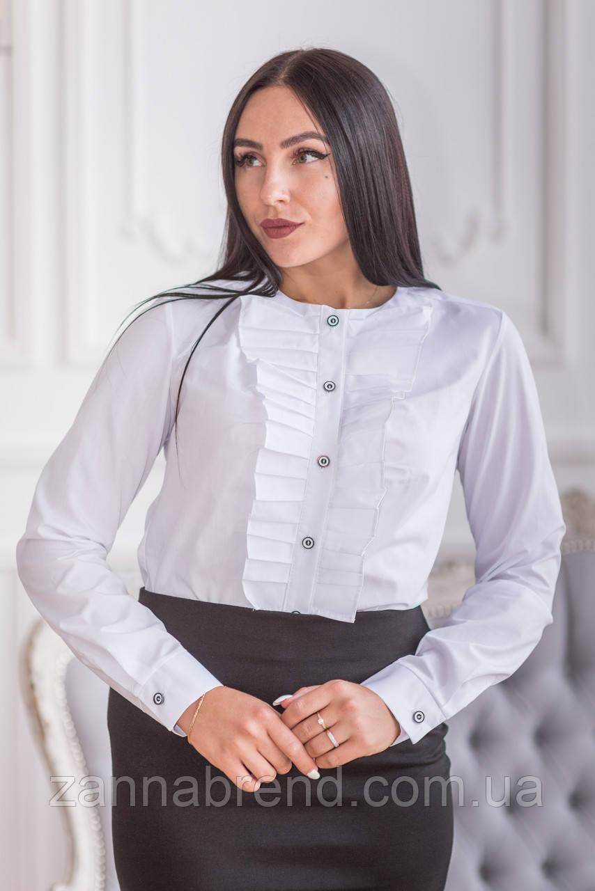 a630519ecd0 Белая блузка с рюшами без воротника - Zanna - интернет магазин Тканей и  женской одежды в
