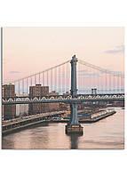 Фотокартина на холсте Закат на мосту, 90*90 см