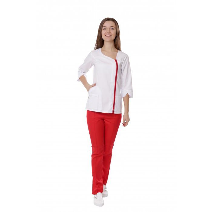 7c8bb92013f Медицинский костюм женский Бирма белый красный. молния