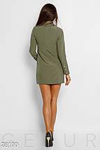 Демисезонное платье пиджак облегающее мини длинный рукав с карманами и пуговицами хаки, фото 3