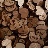 Набір(10 шт) дерев'яних сердечок LOVE, фото 2