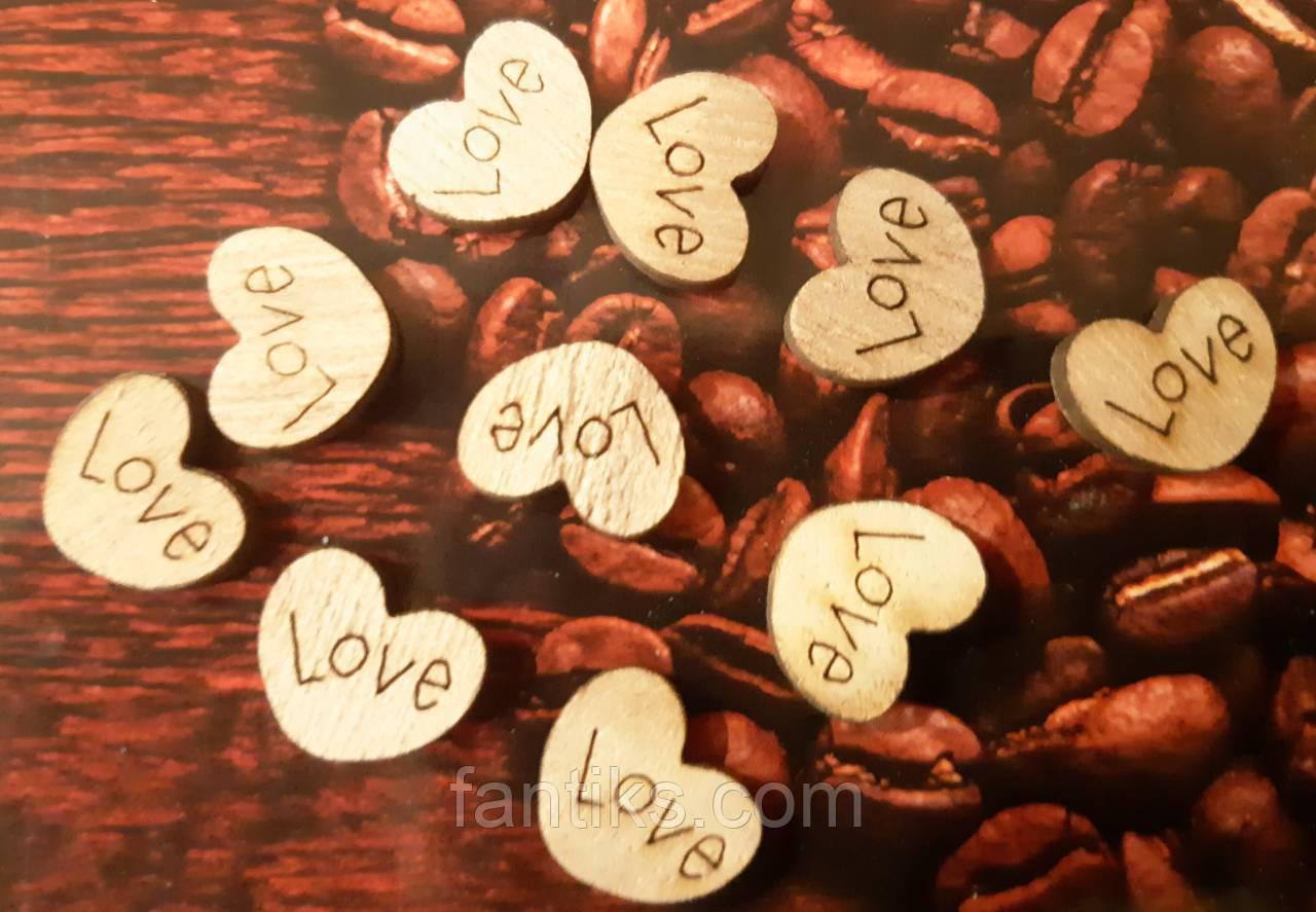Набір(10 шт) дерев'яних сердечок LOVE